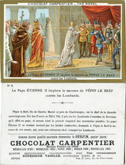 Image Chocolat Carpentier - Thé Royal - N° 9 - Le Pape Étienne II implore le secours de Pépin le Bref contre les Lombards (754)