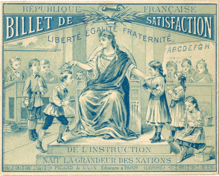 Billet de satisfaction Picard & Kaan, Paris - De l'instruction naît la grandeur des nations - 8x10cm.jpg