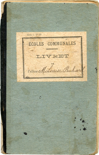 carnet de notes Paris 16e 1908-09 M. Louise Richard couv1.png