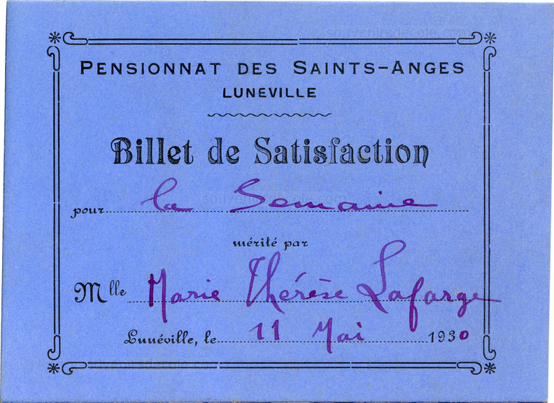 Billet de satisfaction - Lunéville - Pensionnat des Saints-Anges - Marie Thérèse Lafarge 11 mai 1930.png