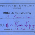 Billet de satisfaction - Lunéville - Pensionnat des Saints-Anges - Marie Thérèse Lafarge 11 mai 1930