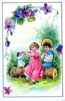 Jouons à la poupée ou de la flûte - décor de violettes