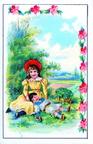 Repos sur les genoux de la grande sœur - décor fleuri