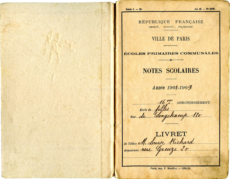 Carnet de notes 1908/1909 - Paris 16e - Couverture 2 et Page 1
