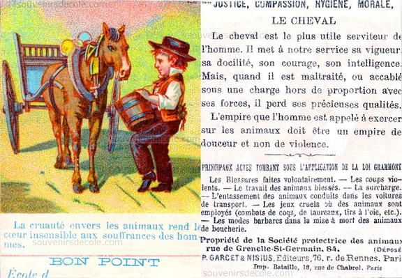 Le Cheval - Bon point Justice, Compassion, Hygiène, Morale