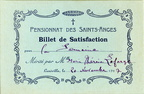 Billet de satisfaction - Lunéville - Pensionnat des Saints-Anges - Marie Thérèse Lafarge 20 novembre 1927